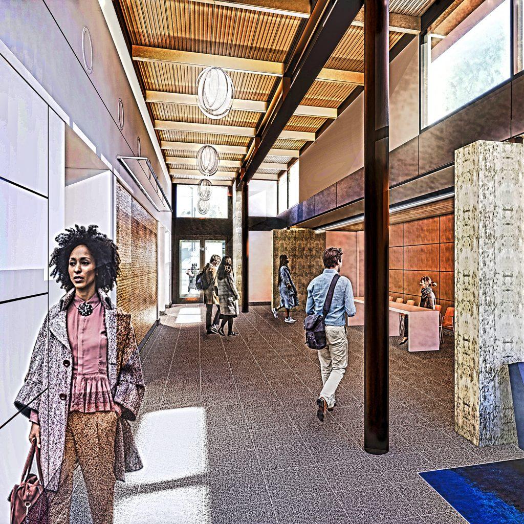 Columbia Gorge Conference Center Atrium west entrance