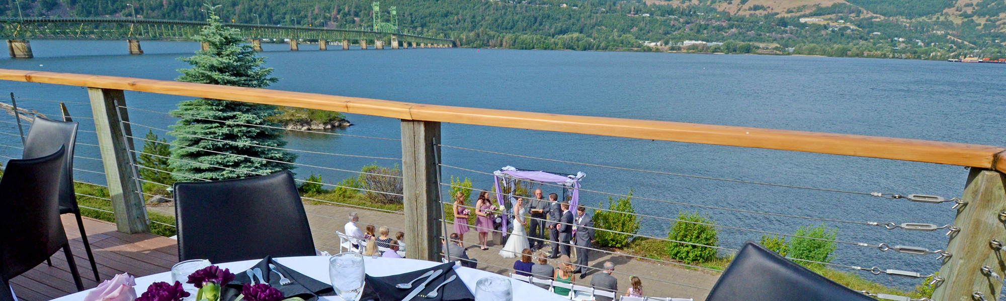 patio wedding from shoreline deck